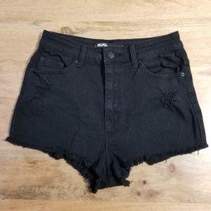 BDG Black Distress High Rise Cheeky Shorts 29 UO